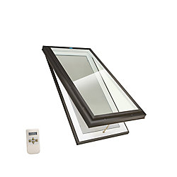 Columbia Skylights 2ft x 4ft Elite Electric Venting Curb Mount LoE3 Double Glazed Glass Skylight with Brown Frame