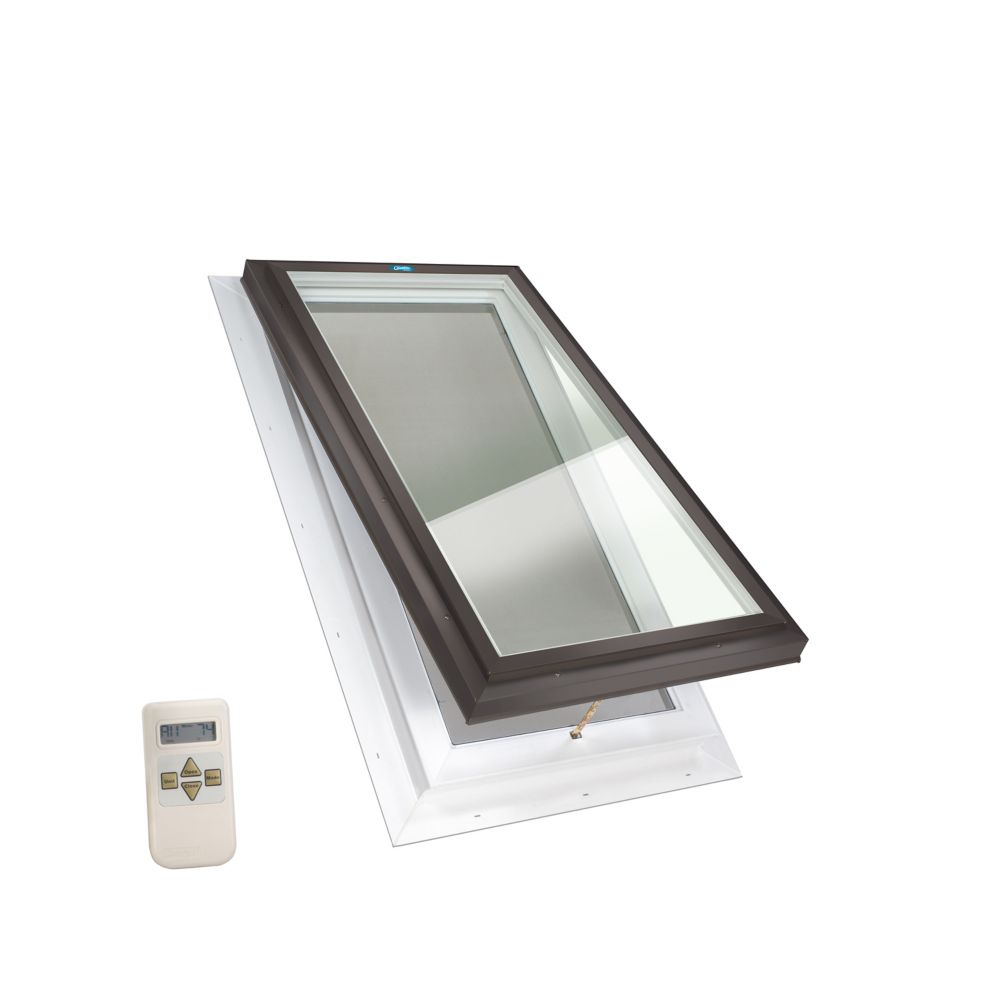 2 ft. x 4 ft. Venting Electric Elite Self Flashing Clear Glass Skylight