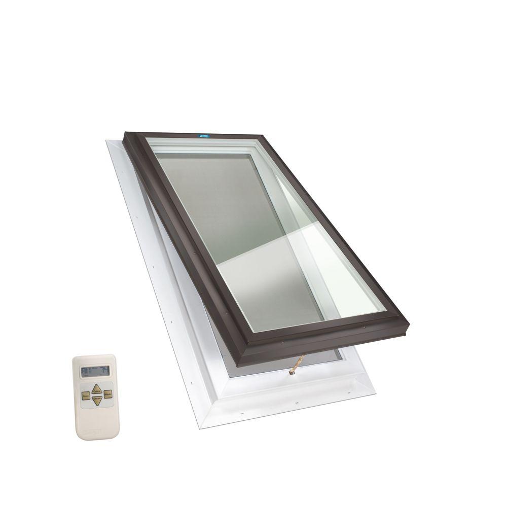 Puits de lumière avec ouverture electrique elite, solin intégré, verre LoE3    transparent, 2 pi ...