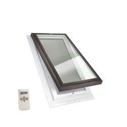 Columbia Skylights Puits de Lumière 2pi x 4pi Ouverture Électrique Elite, Solin Intégré verre transparent LoE3 trempée avec cadre brun