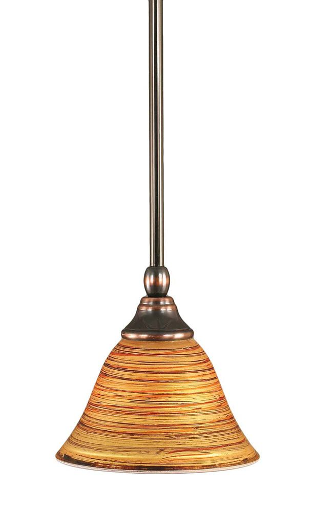 Concord 1-Light Ceiling Black Copper Pendant with a Firré Saturn Glass