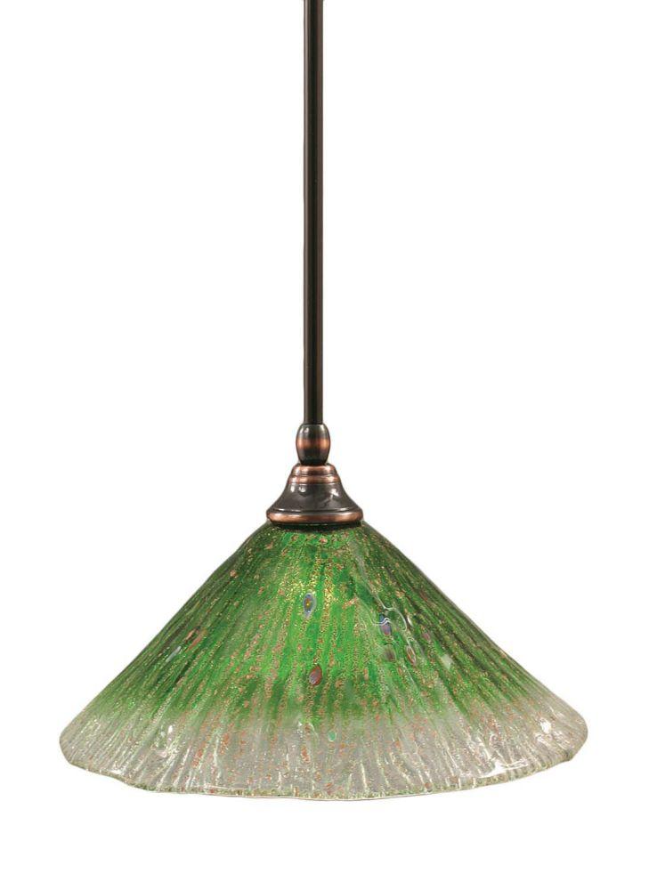 Concord 1 lumière au plafond Noir Copper Pendeloque à incandescence avec un cristal en verre vert