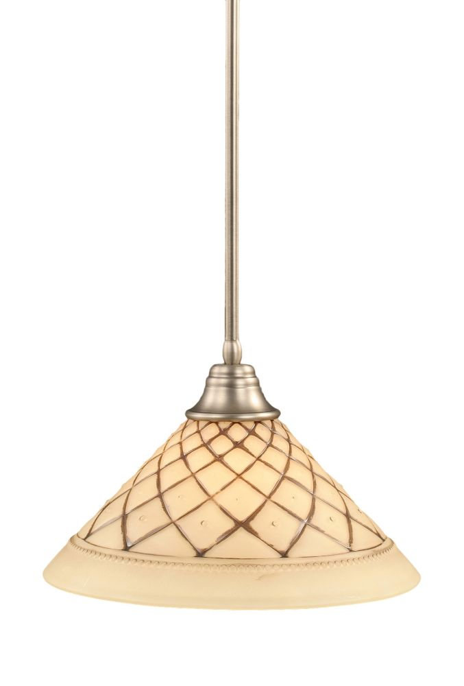 Concord 1 Light Ceiling Brushed Nickel Incandescent Pendant with a Chocolate Icing Glass