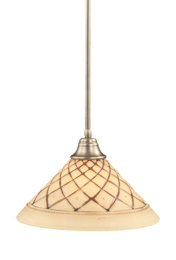 Concord plafond à 1 lumière, nickel brossé Pendeloque incandescence d'un verre de glaçage au choc...