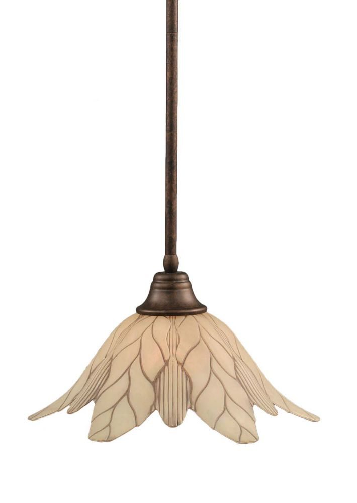Concord 1 Light Ceiling Bronze Incandescent Pendant with a Vanilla Leaf Glass