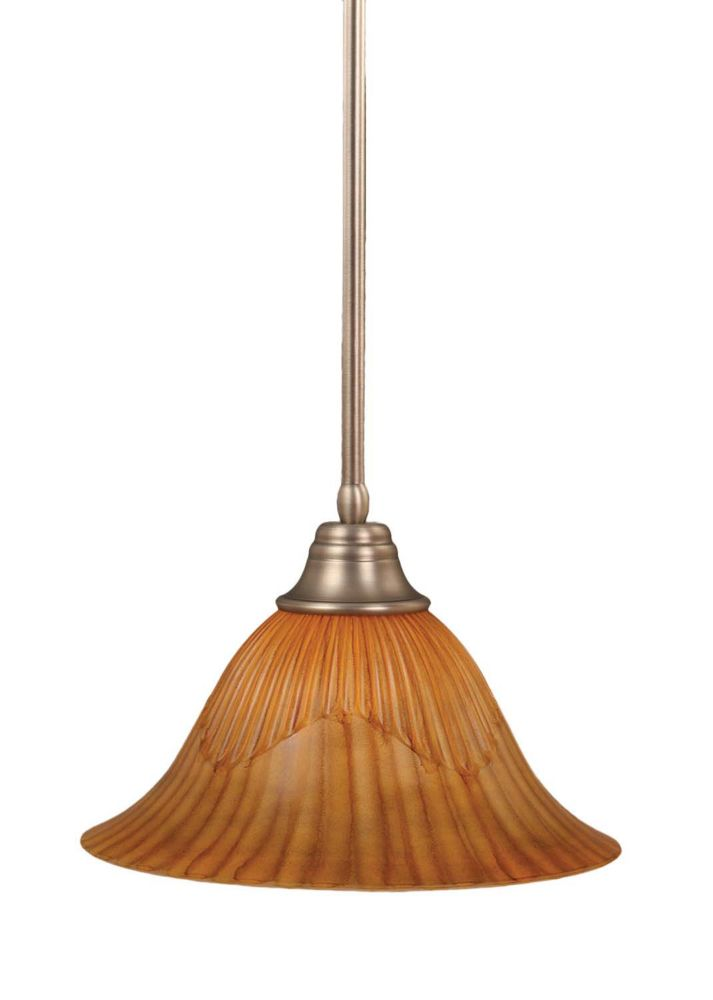 Concord 1-Light Ceiling Brushed Nickel Pendant with a Tiger Glass