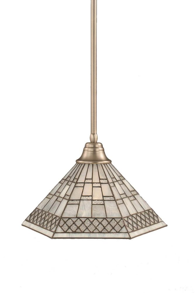 Concord 1-Light Ceiling Brushed Nickel Pendant with a Pewter Tiffany Glass