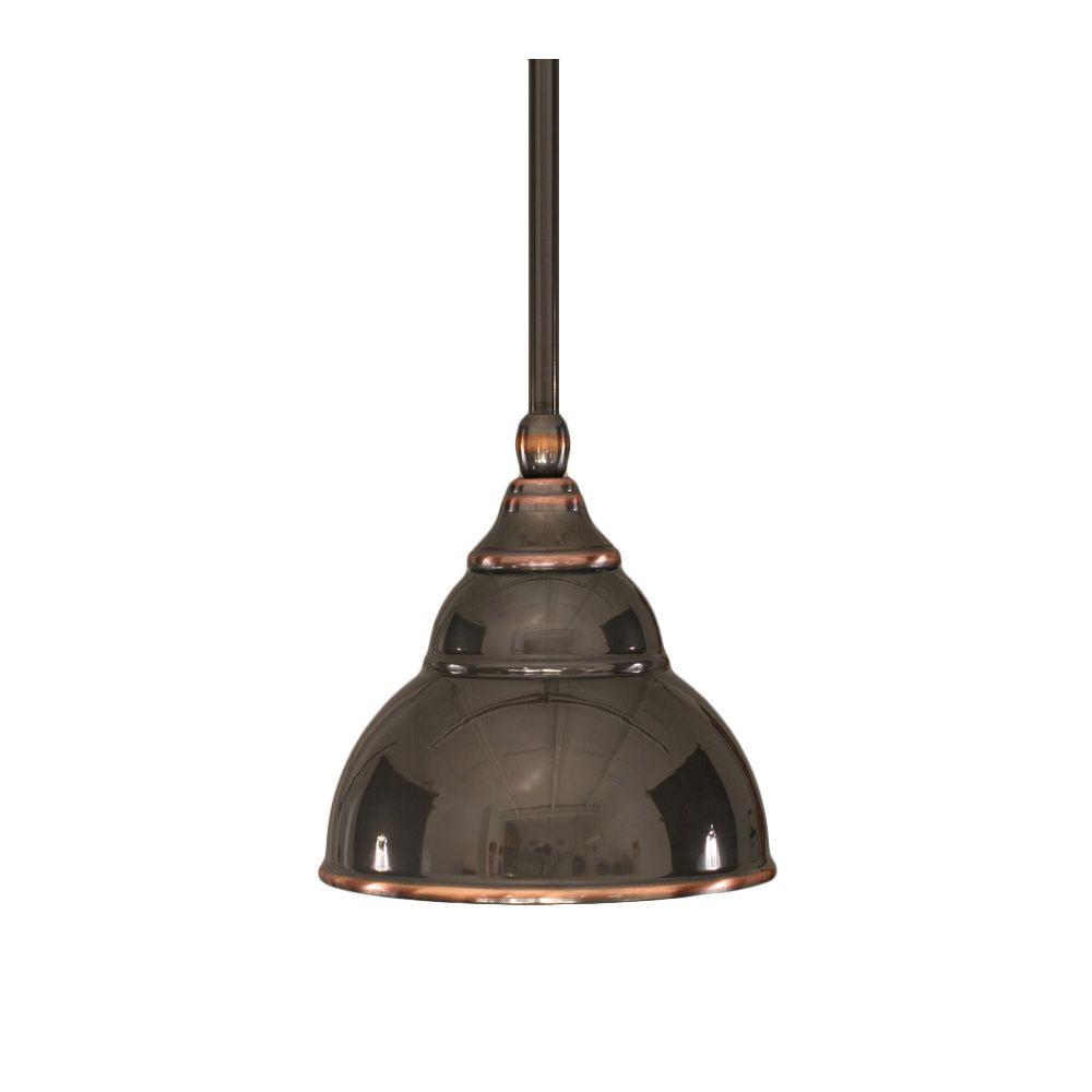 Concord 1 lumière au plafond Noir Copper Pendeloque à incandescence avec un verre de cuivre Noir