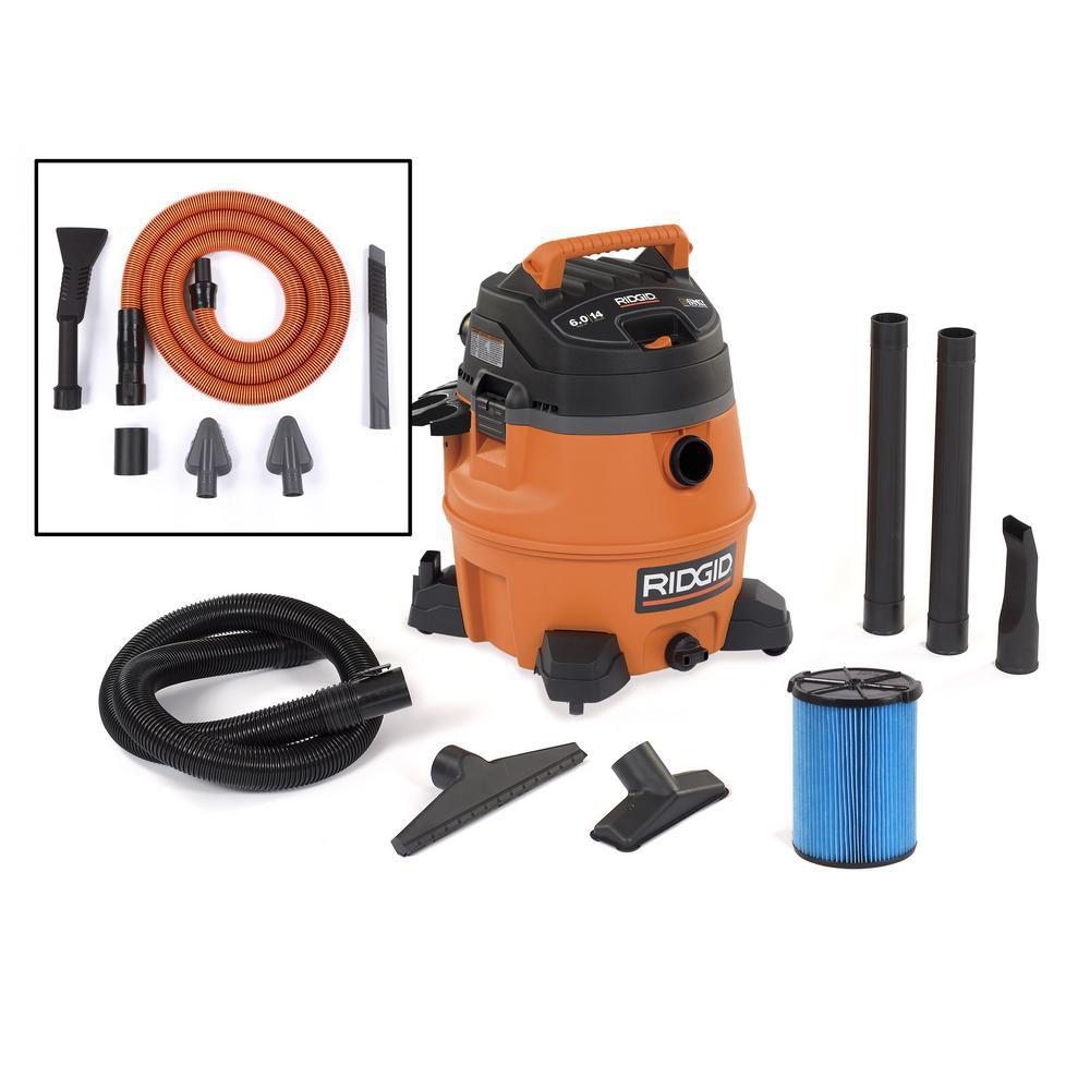 RIDGID 53 L (14 Gal.) 6 Peak HP Wet/Dry Vacuum with Auto Detailing Kit