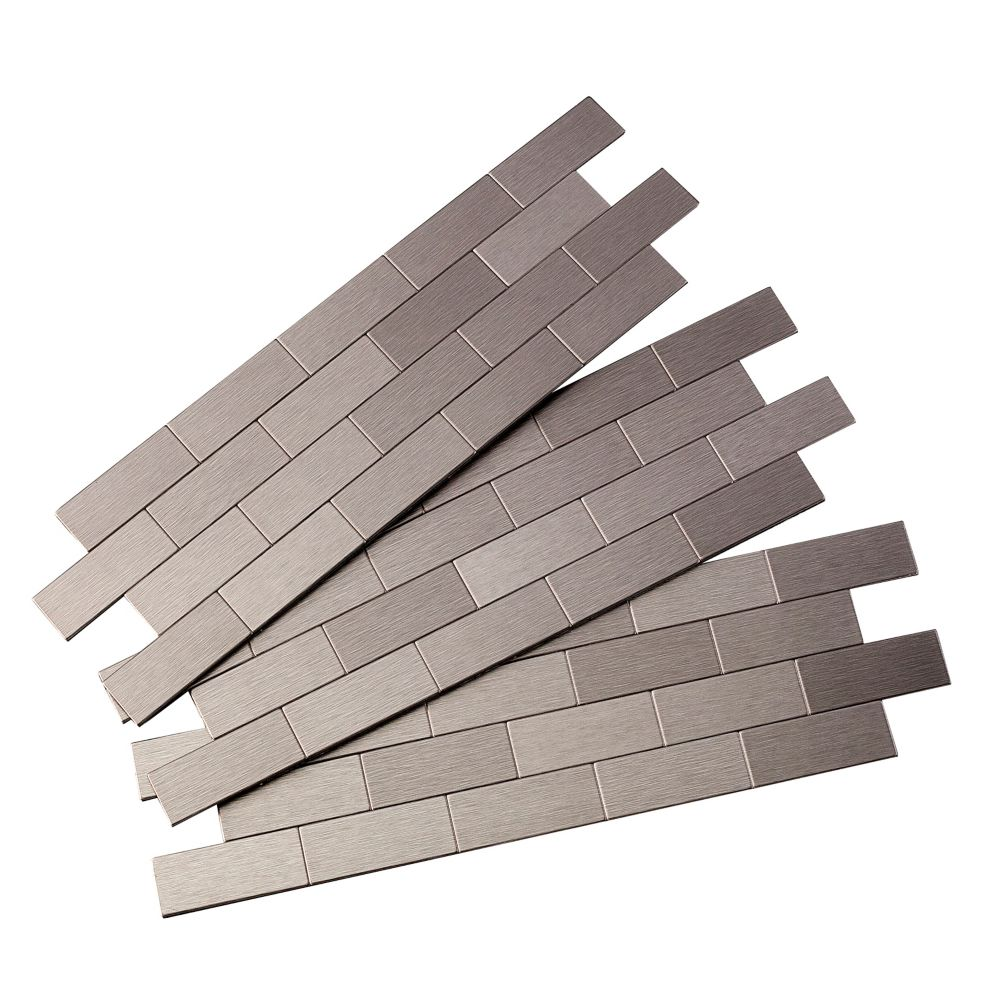 subway matted peel and stick tiles brushed stainless 3 sections pack