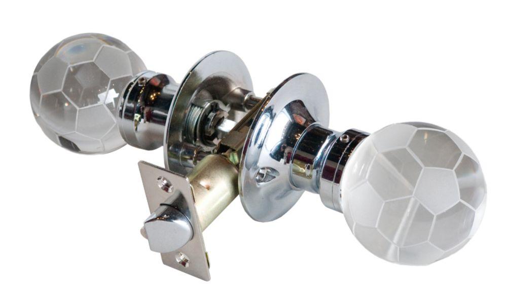 Krystal Touch Soccer Ball Chrome Passive LED Door Knob