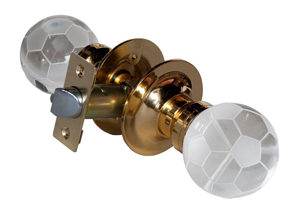 Soccer Ball Brass Passive LED Door Knob