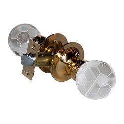 Krystal Touch Soccer Ball Brass Passive LED Door Knob