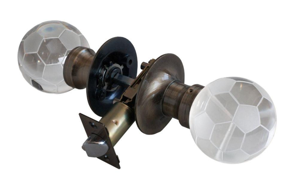 Bouton de porte à DEL sans verrou Ballon de soccer, base cuivrée et patinée