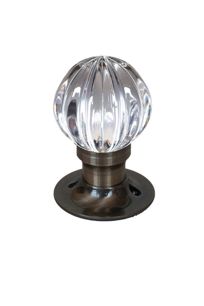 Krystal Touch Wave Antique Brass Passive LED Door Knob