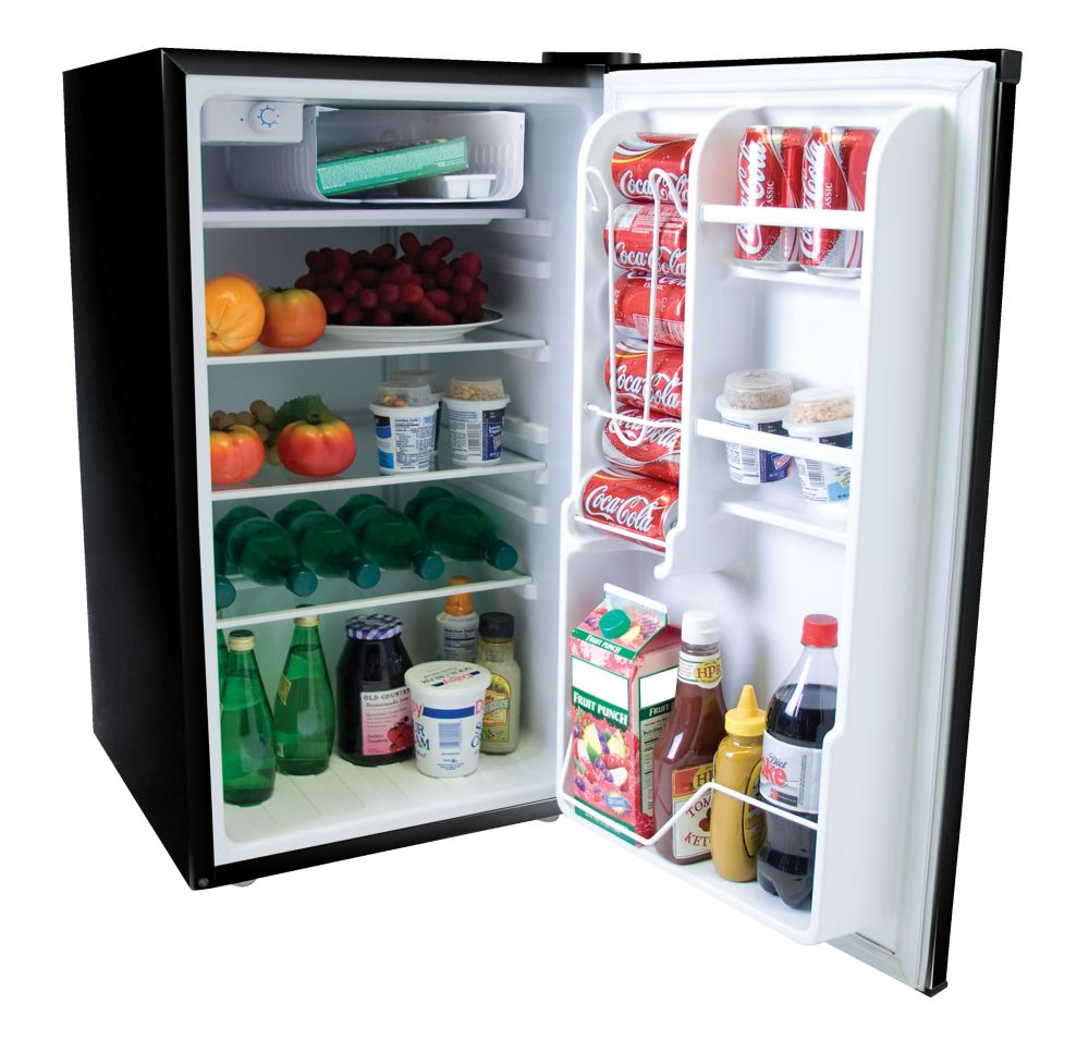 4.0 cu. ft. Compact Refrigerator in Black with Stainless Steel Door