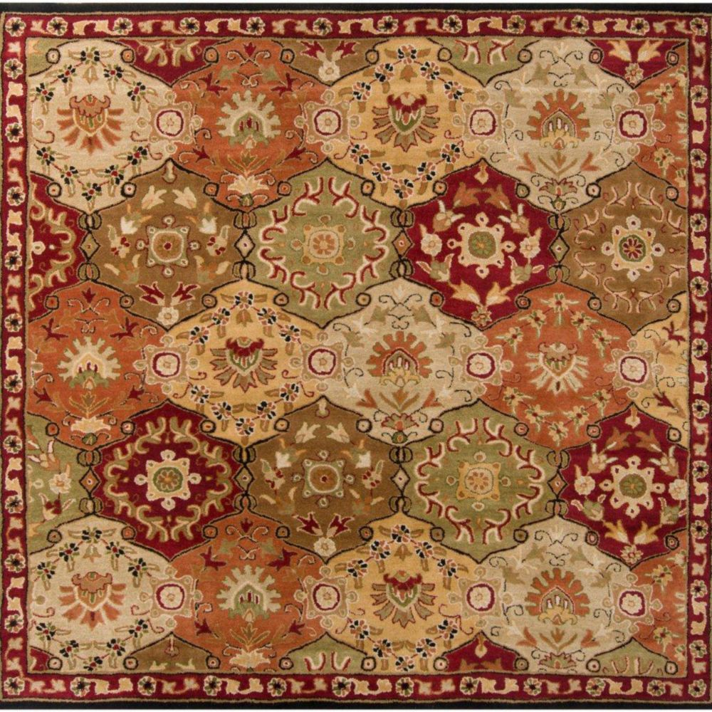 Abbaretz Red Wool Square  - 4 Ft. Area Rug