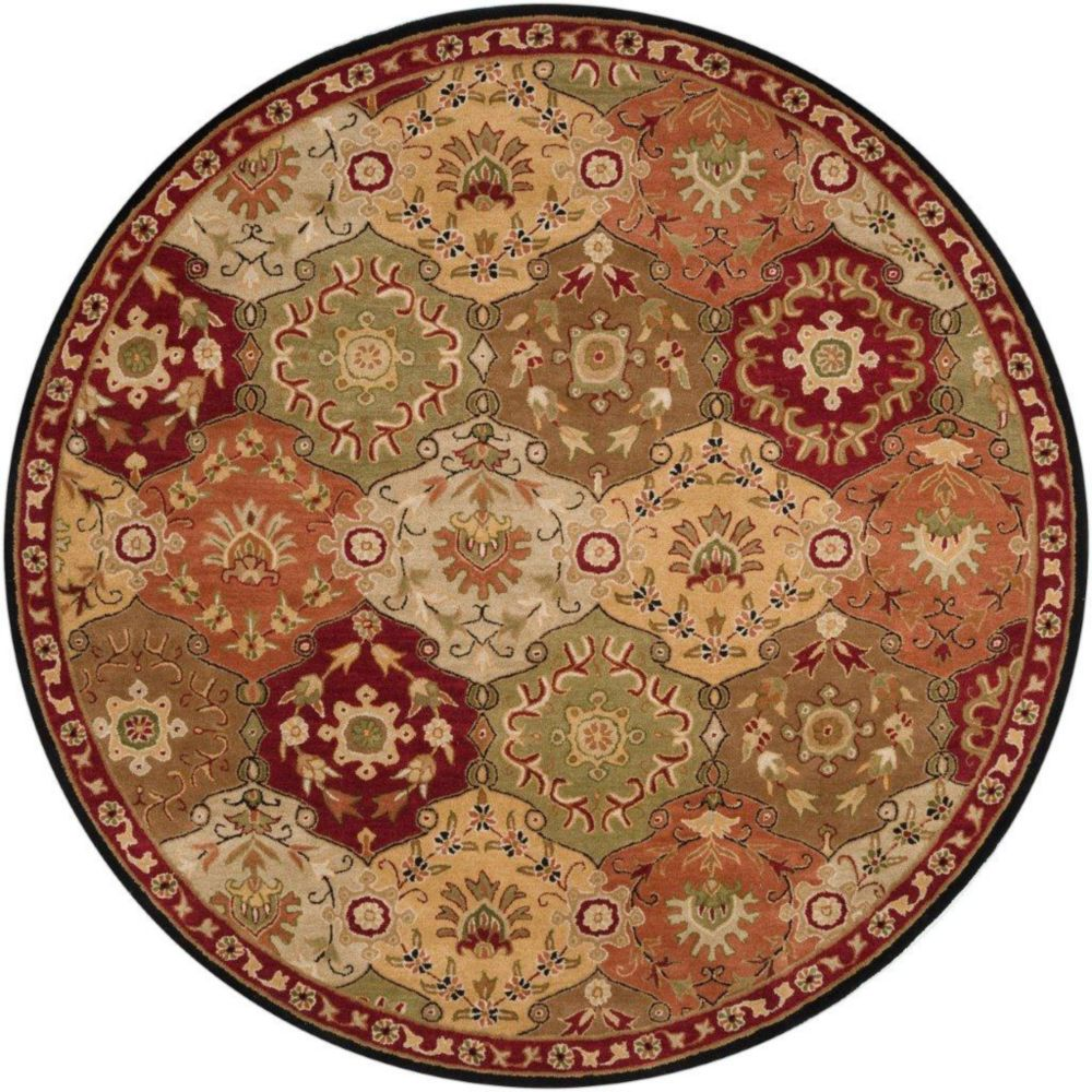 Abbaretz Red Wool Round  - 8 Ft. Area Rug
