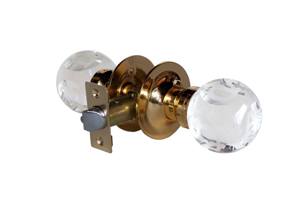 Bouton de porte transparent à DEL sans verrou et avec inscription ABC, base cuivrée