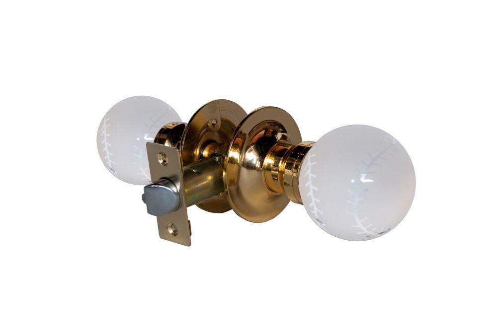 Baseball Brass Passive LED Door Knob