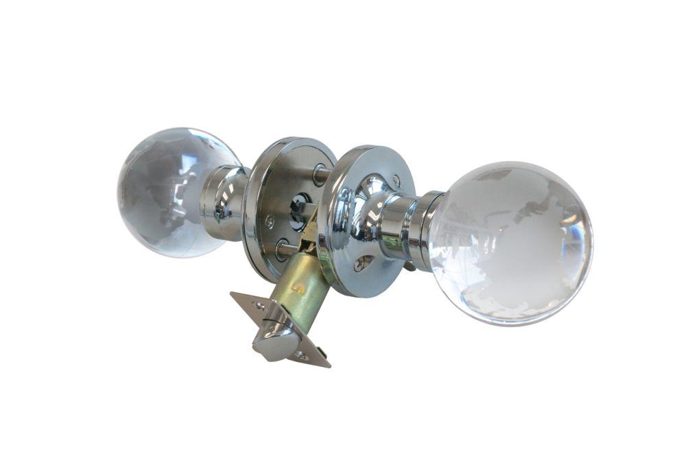 Bouton de porte à DEL verrouillable Globe, base chromée