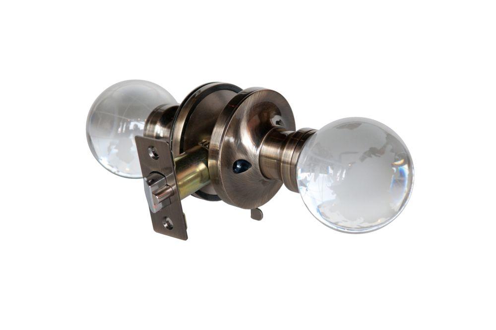 Bouton de porte à DEL verrouillable Globe, base cuivrée et patinée