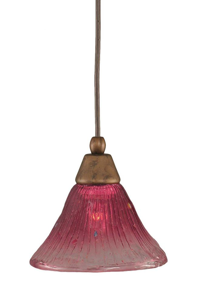 Concord 1-Light Ceiling Bronze Pendant with a Wine Crystal Glass