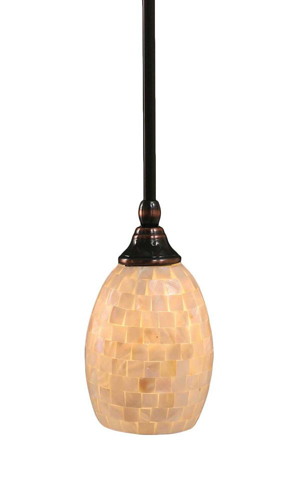 Concord 1 lumière au plafond Noir Copper Pendeloque incandescence d'un verre de Seashell