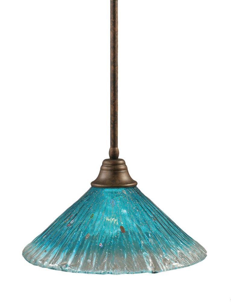 Concord 1 lumière au plafond Bronze Pendeloque à incandescence avec un cristal de verre Teal