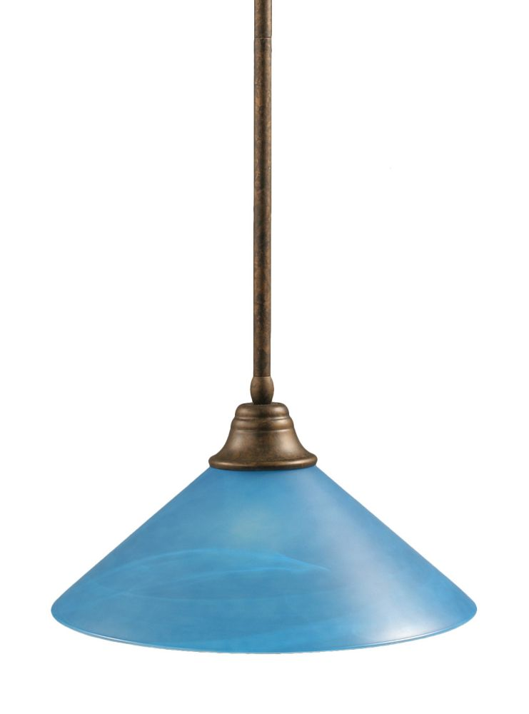 Concord 1 Light Ceiling Bronze Incandescent Pendant with a Blue Italian Glass
