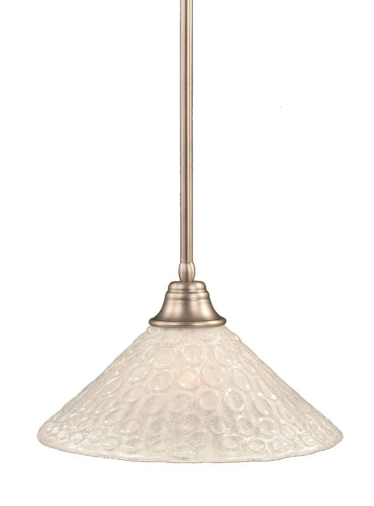 Concord 1 Light Ceiling Brushed Nickel Incandescent Pendant with a Clear Crystal Glass