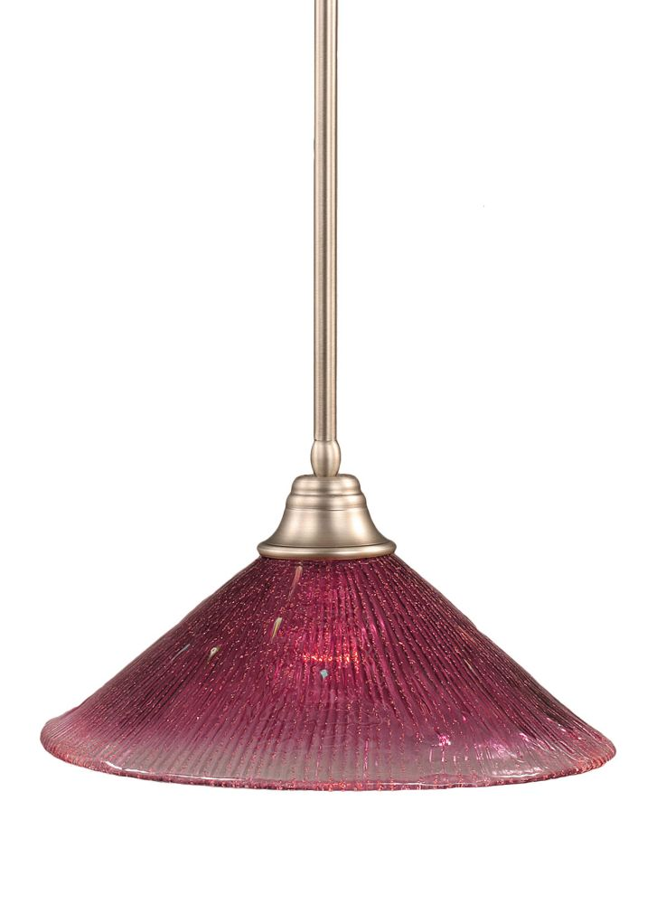 Concord 1-Light Ceiling Brushed Nickel Pendant with a Wine Crystal Glass
