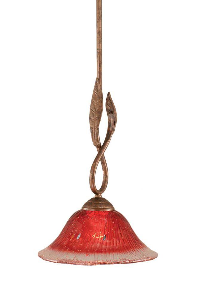 Concord 1 lumière au plafond Bronze Pendeloque à incandescence avec un cristal de verre Framboise