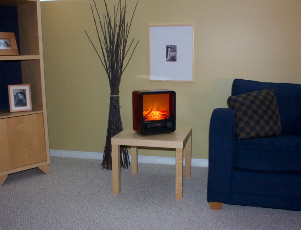 Even Glow Retro Table Top Fireplace With Led Flame Effect The Home Depot Canada