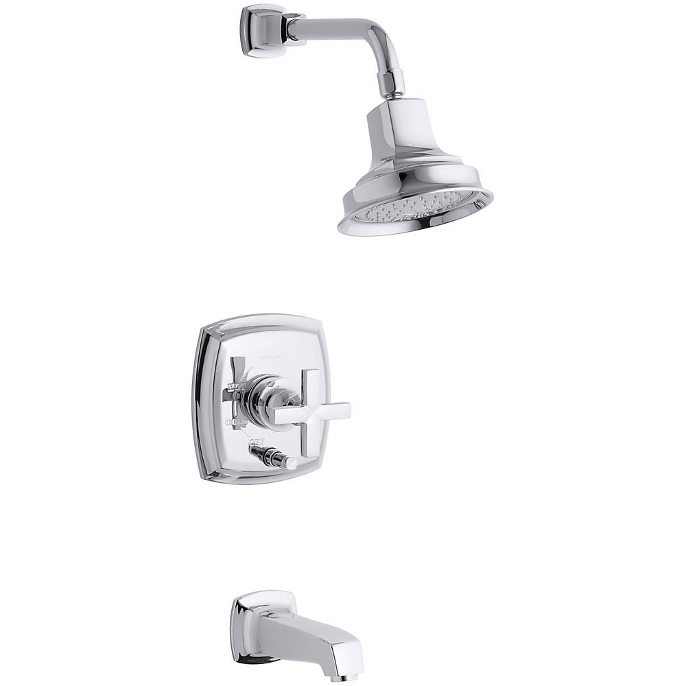 Margaux(R) Rite-Temp(R) pressure-balancing bath and shower faucet trim with push-button diverter
