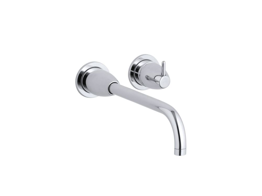 Kohler falling water wall mount bathroom faucet with 10 1 4 inch angular spout the home depot for Kohler wall mount bathroom faucet