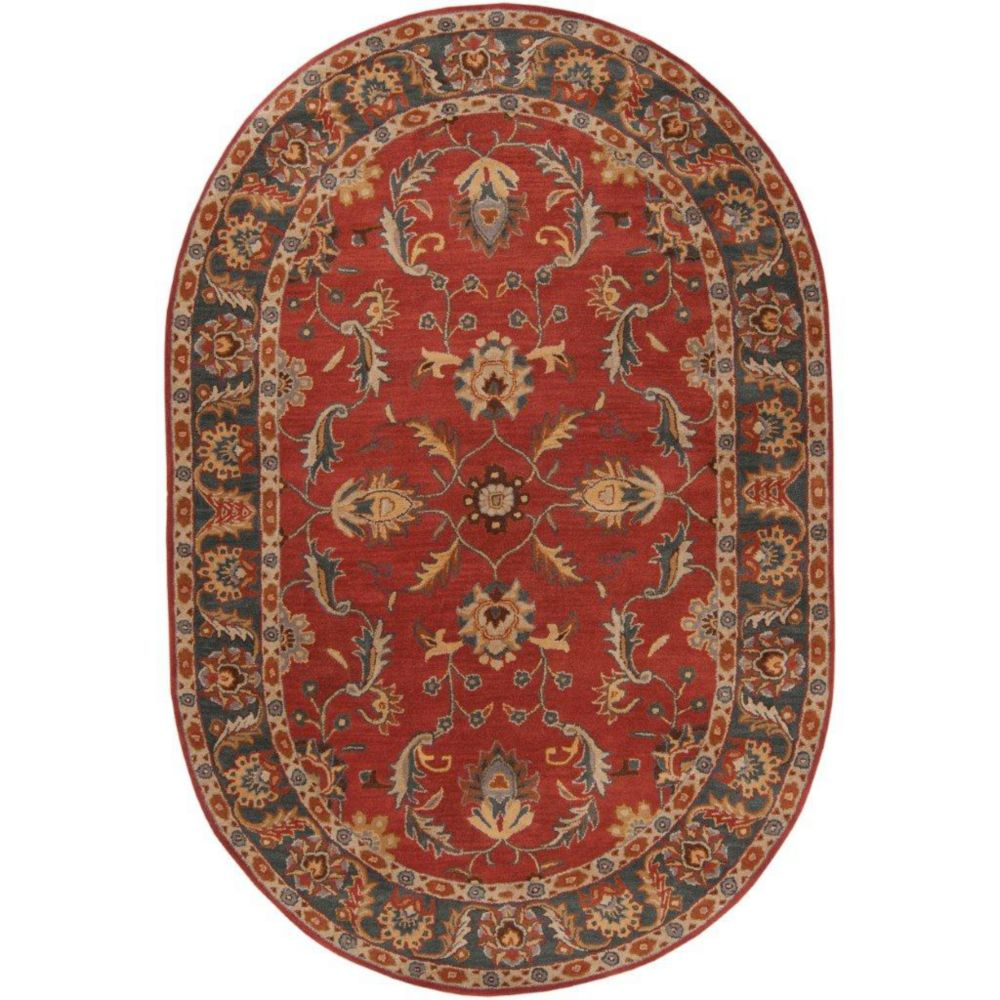 Bradbury Rust Red Wool Oval  - 8 Ft. x 10 Ft. Area Rug