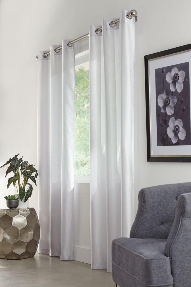 """Faux Silk Grommet, Pair, Grey,76 x 84"""""""