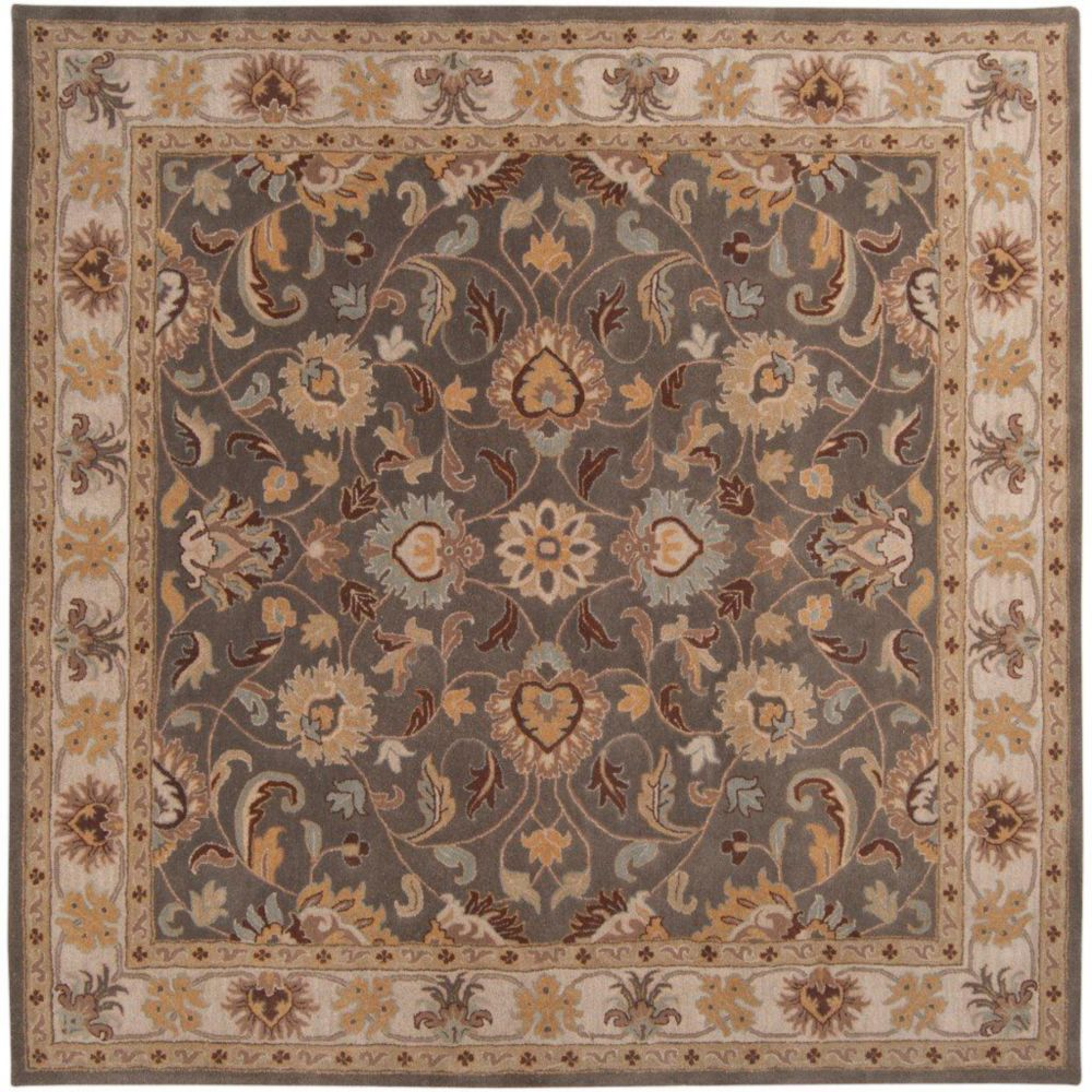 Berkeley Charcoal Wool Square  - 8 Ft. Area Rug