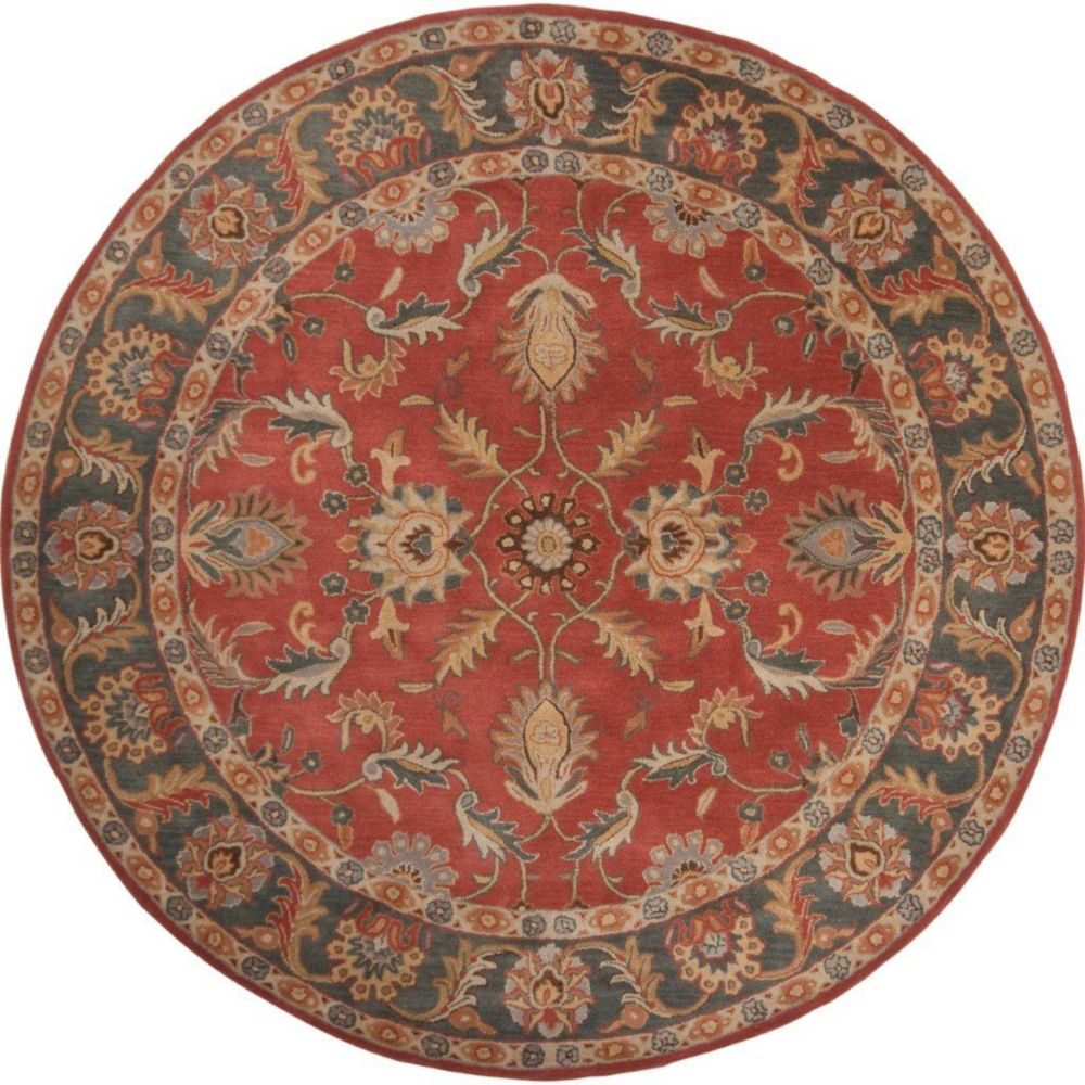 Bradbury Rust Red Wool Round  - 6 Ft. Area Rug
