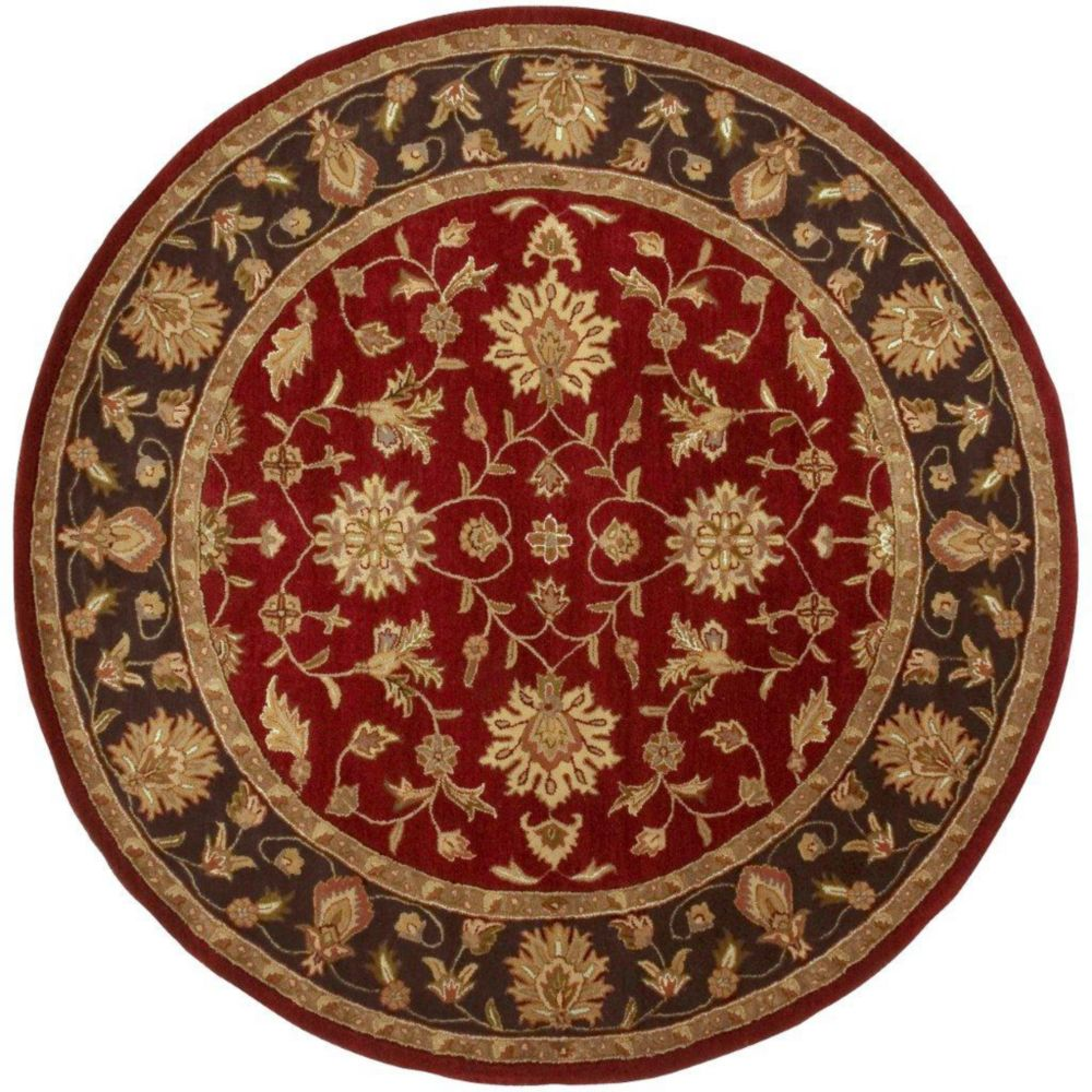 8 Ft Round Area Rug: Artistic Weavers Palinges Burgundy Wool Round