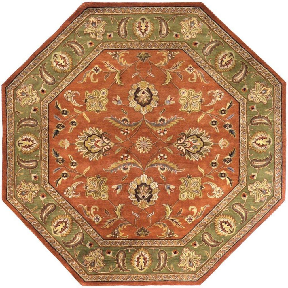 Pamier Dark Rust Wool Octagon  - 8 Ft. Area Rug