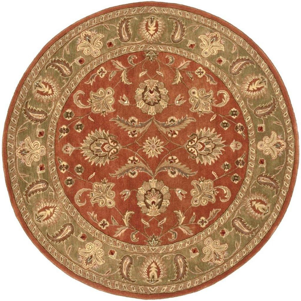 Pamier Dark Rust Wool Round  - 8 Ft. Area Rug