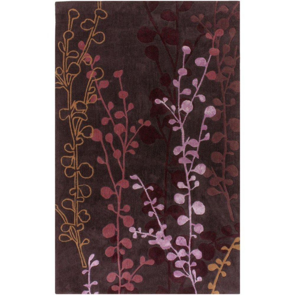 Pamproux Plum Polyester / Viscose 3 Feet 6 Inch x 5 Feet 6 Inch Area Rug