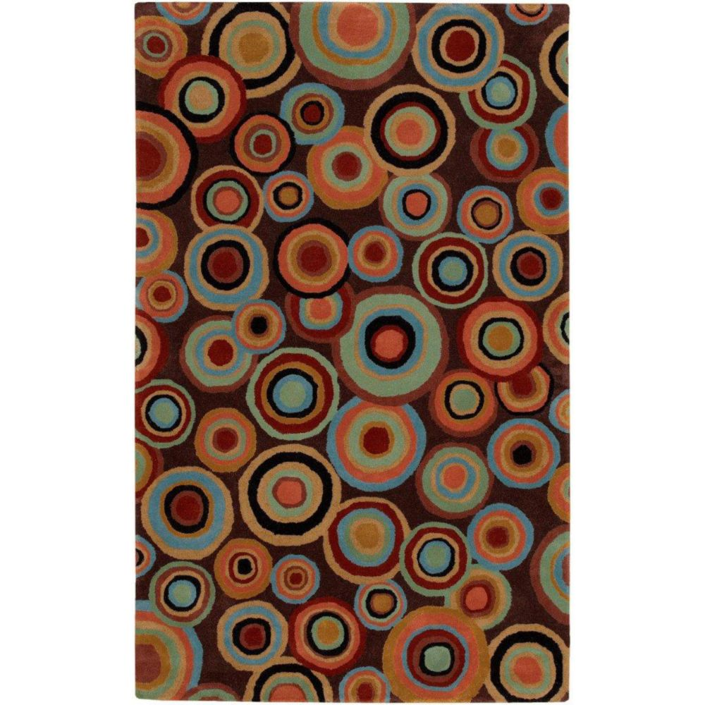 Panissieres Brown New Zealand Wool 3 Feet 3 Inch x 5 Feet 3 Inch Area Rug