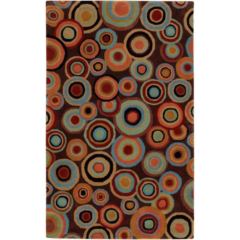 Panissieres Brown New Zealand Wool 8 Feet x 11 Feet Area Rug