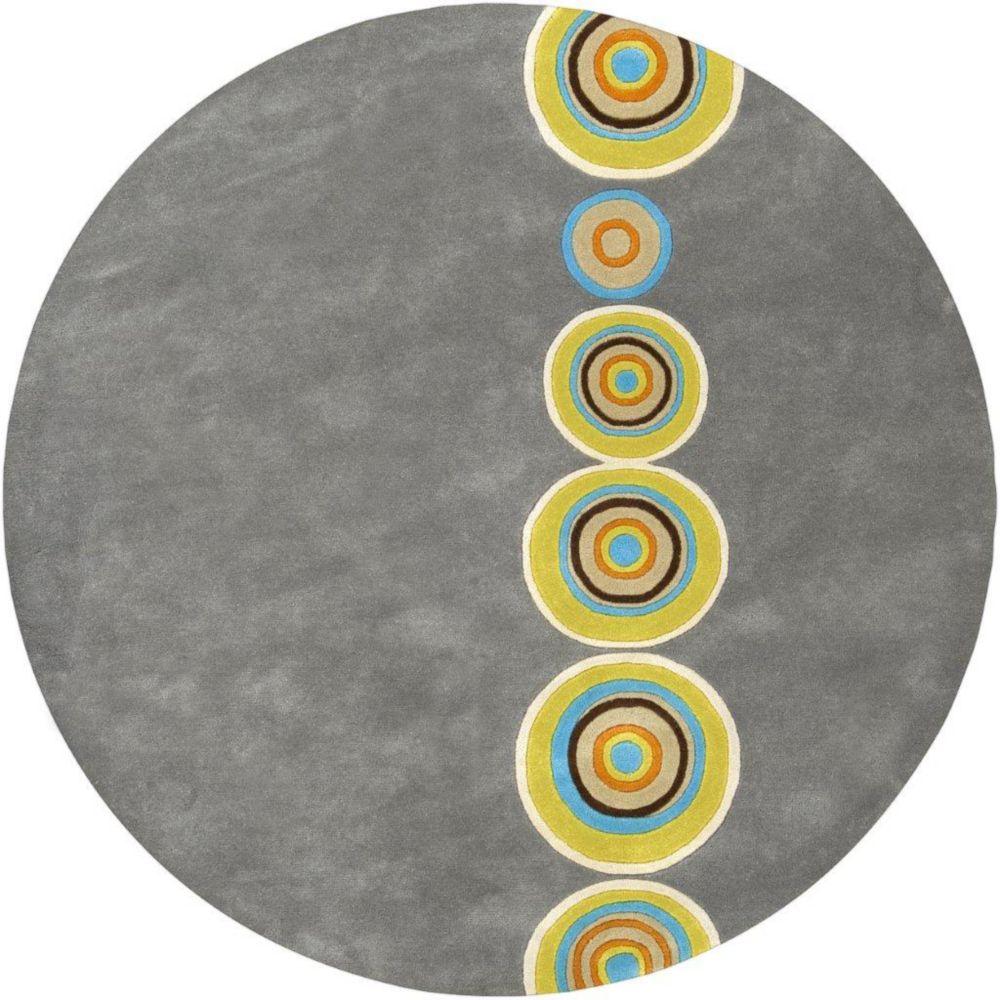 Tapis Pannece gris en laine  de Nouvelle-Zélande 3 Pi. rond