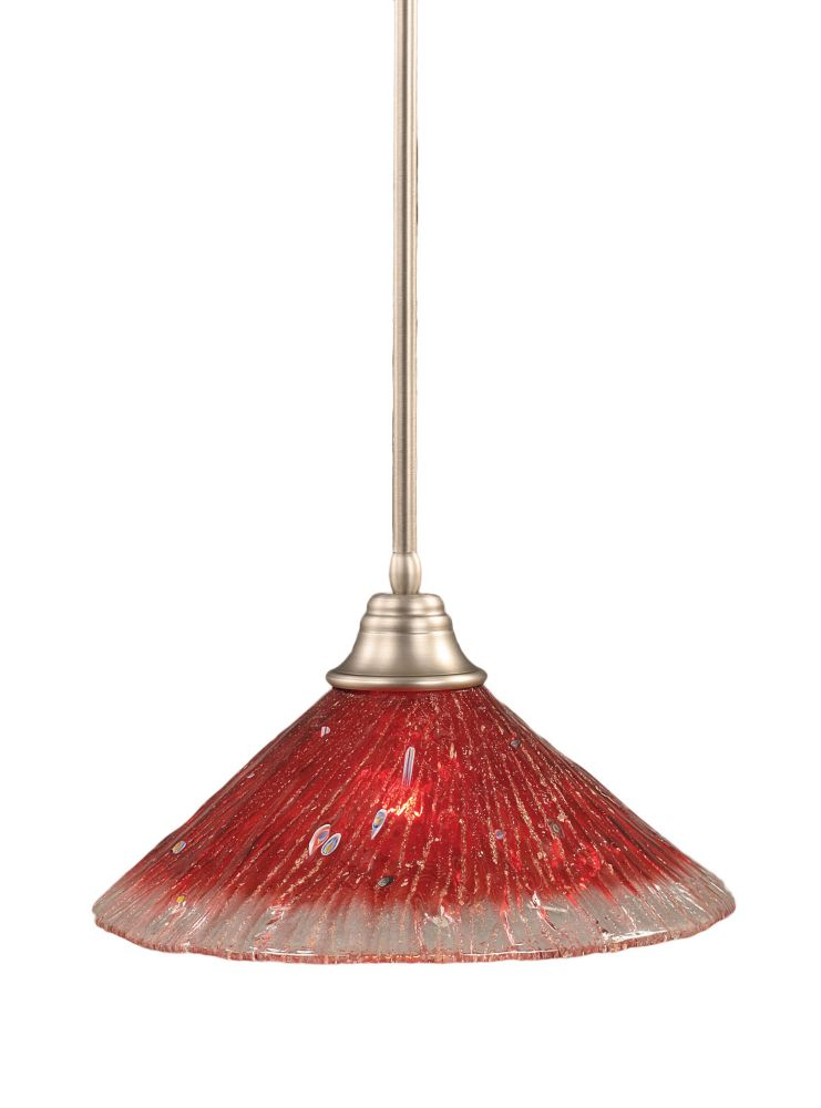 Concord 1 Light Ceiling Brushed Nickel Incandescent Pendant with a Raspberry Crystal Glass