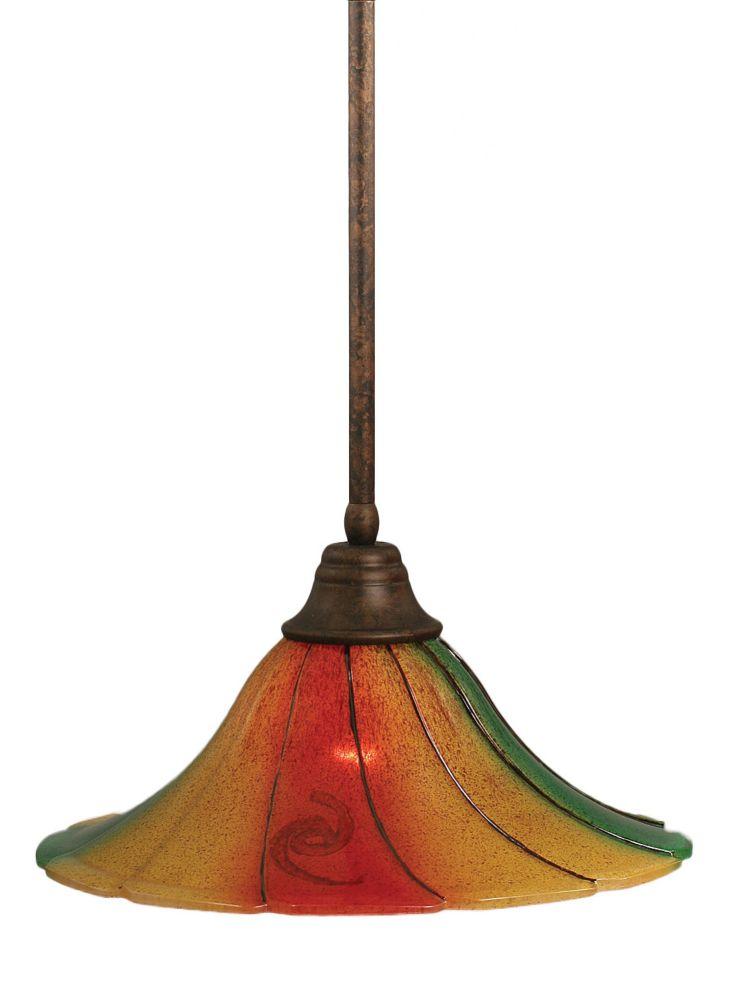 Concord 1 lumière au plafond Bronze Pendeloque à incandescence dont la Mardi Gras verre