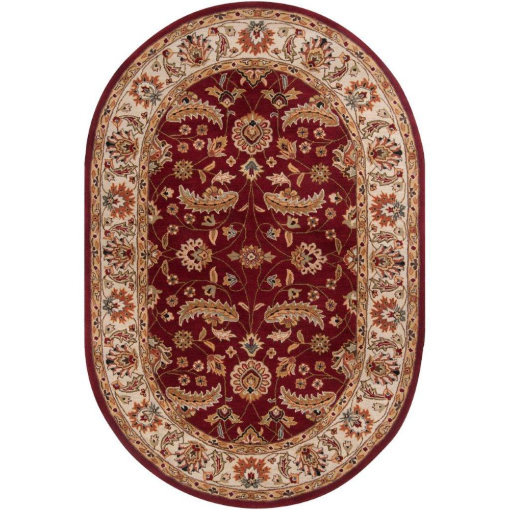Brisbane Red Wool Oval  - 6 Ft. x 9 Ft. Area Rug